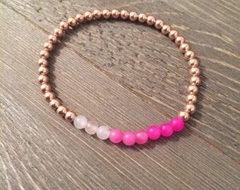 Pink ombré beaded bracelet with 14k rose gold filled beads; stretch bracelet; beaded bracelet; rose gold; pink; pink ombre