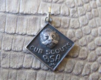 BSA LION CUB Scout Charm Vintage 1950's Sterling Silver Charm Pendant. Scouting. Warman's Jewelry Book Piece Page 202.Scout Memento Souvenir