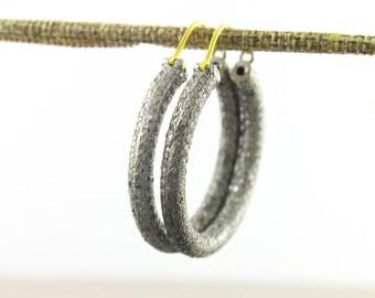 Pave Diamond Earrings, Pave  Hoops Earrings, Diamond Hoops Earring, Pave Round Earrings, Pave Earrings, Oxidized Silver. (Earr-077)