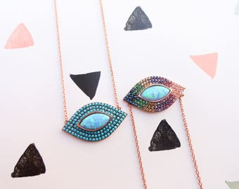 Opal necklace turquoise evil eye necklace, silver rainbow color evil eye necklace silver opal pride jewelry, lgbt jewelry, lesbian necklace