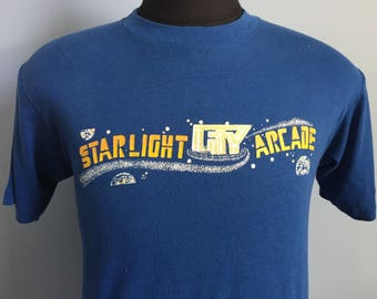 80s Vintage Starlight City Arcade video game T-Shirt - MEDIUM