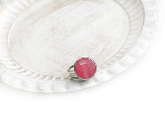 Adjustable Round Pink Jade Stone Silver Plated Ring
