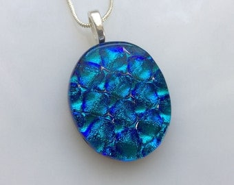 Dichroic Glass Pendant, Fused Glass Jewelry, Blue Dichroic Necklace