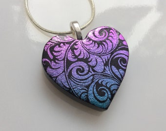 Dichroic Heart Pendant, Fused Glass Jewelry, Pink Blue Dichroic Heart Necklace