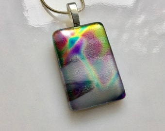 Dichroic Glass Pendant, Fused Glass Jewelry, Purple Gold Blue Satin Dichroic Necklace