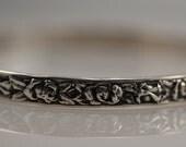 Vintage Danecraft Sterling Silver Bangle Bracelet Roses Flower Floral Stackable