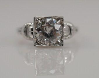 1.79 carat Old European Cut Diamond Vintage Solitaire Engagement Ring 18k White Gold Unique Propose Antique