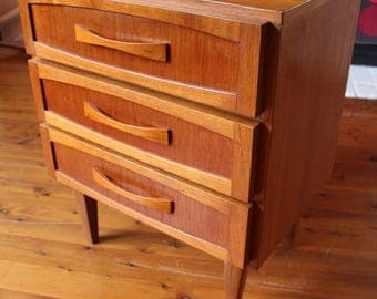 Mid Century Teak Chest of Drawers Side Table Danish Parker Style