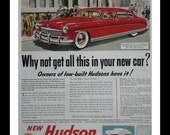 Red 1956 Hudson Grand Central Station NYC.  Beautiful Illustration Unique Ad.  Stylin Hot Rod.   Post Modern Detroit Design.  Ready Frame.