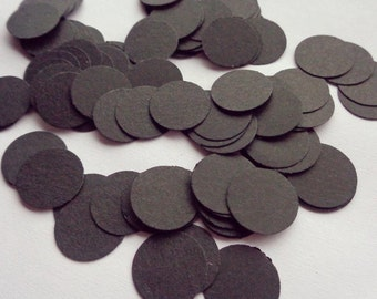 Black circle confetti (100 pcs) - party supplies - wedding decor