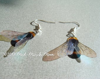 Bumble Bee Earrings, Sterling silver ear hooks, clip ons and Latch backs available
