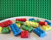 Edible LEGO Cupcake toppers- Lego Brick Cupcake toppers- Assorted Color- Candy Lego Bricks- Edible cake decorations (Mixed colors)(16pieces)