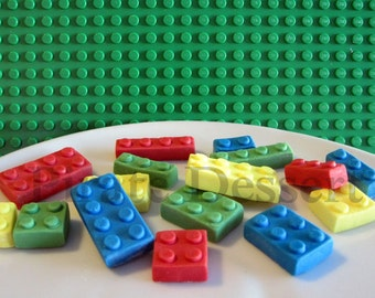 Edible Candy Brick Cupcake toppers- Lego inspired Brick Cupcake toppers- Assorted Color- Candy Lego Brick look a like (Mixed color)(16piece)