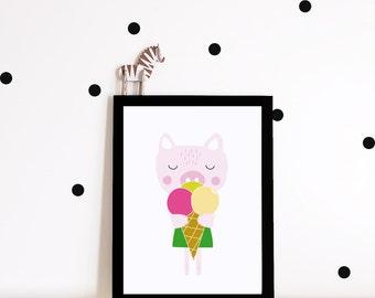 Girl Nursery decor, nursery art, Kids room art print, nursery poster, girls room decor, animal art print, pig poster