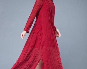 red linen dress, women's dress, oversized dress, pleated dress, long sleeved dress, irregular dress    C1050