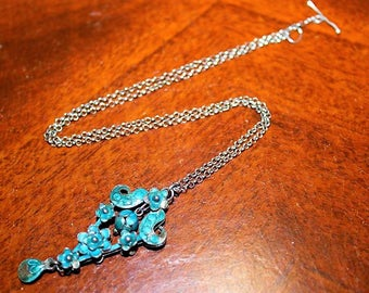 Antique Chinese Export Blue Enamel Sterling Silver Astounding Necklace NC7