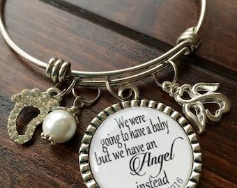 Miscarriage bracelet/ Angel bangle bracelet/ Infant loss jewelry/ Sympathy gift/ Loss of child/ Personalized sympathy jewelry/ custom