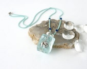 Raw Aquamarine Stone Necklace, Ice Blue Crystal Pendant with Cute Elephant Charm, Ice Age Inspired Jewelry