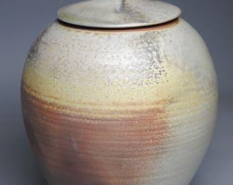 Clay Wood Fired Covered Jar Urn G51