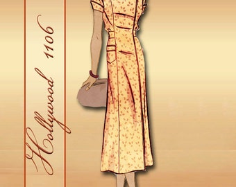 Elegant 1930s Dress Pattern 2 Bodice Styles Collarless Side Closure or Double Breasted with Wide Collar * Hollywood 1106 Movie Star Pattern