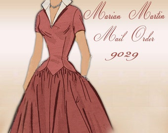 Marian Martin Mail Order 9029 1950s Dress Pattern Mid Century Classic with Full Gathered Rockabilly Skirt and Long Waist Torso