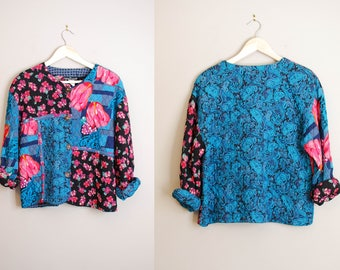 Vintage 90s Floral Patchwork Quilted Jacket / Colorful Shabby Chic Country Floral Blazer / Size Large