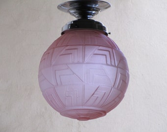 Original French Art Deco Pink Geometric Molded Glass Ceiling Light - Cubist Art Deco Motifs - Globe Ceiling Light - Original Art Deco