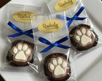 12 Chocolate Paw Print Oreo Cookie Favors Animal Birthday Party Candy Sweets Dog Bear Cat