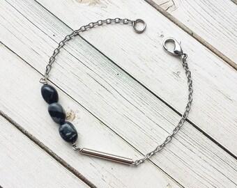 Jasper And Tube Bracelet | Crystal Bracelet | Dainty Bracelet | Simple Bracelet | Jasper Jewelry | Thin Bracelet | Gift Ideas |