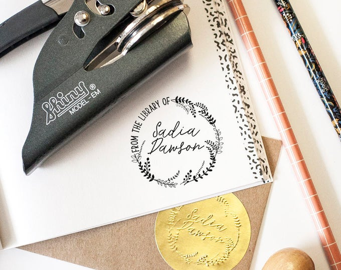 Featured listing image: Custom Seal Embosser, Book Plate, Book Stamp, Library Stamp, Library Embosser, Book Embosser, From the Library of Embosser, Book Lover Gifts