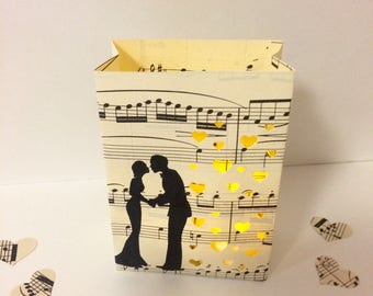 Wedding Luminaries, Wedding Decor, Music Theme, Vintage Sheet Music, Luminary Bags, Wedding Lanterns, Wedding Decor, Rehearsal Dinner