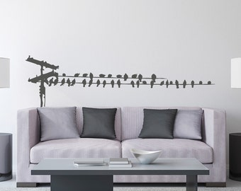 Birds on Telephone Wire Vinyl Wall Decal K661