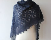 Hand knitted alpaca lace shawl,  warm and soft blue shawl