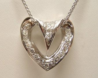 Elegant 14K White Gold SI-1 Half Carat Diamond Heart Pendant Wedding Glamour Anniversary Birthday Best Friend