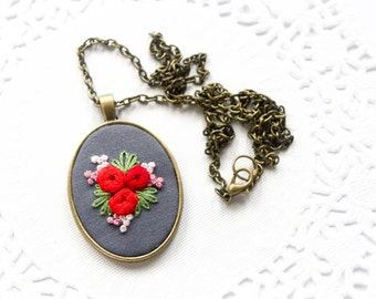 Red Rose Hand Embroidered Pendant Necklace   Rose Embroidered Fabric Pendant   Red Wedding Bridesmaid Gift   Red Flower Necklace Jewelry