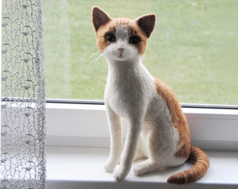 "Life Size Felt Cat - LARGE SIZE - Custom Made Pet Sculpture, Handmade Needle Felted Cat, approx 12"" tall - made to order"