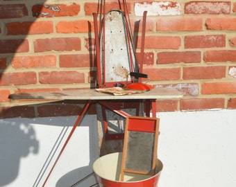 Vintage Red Toy Iron, 2 Ironing Boards, Wash tub, Washboard/Rustic/Cottage Chic