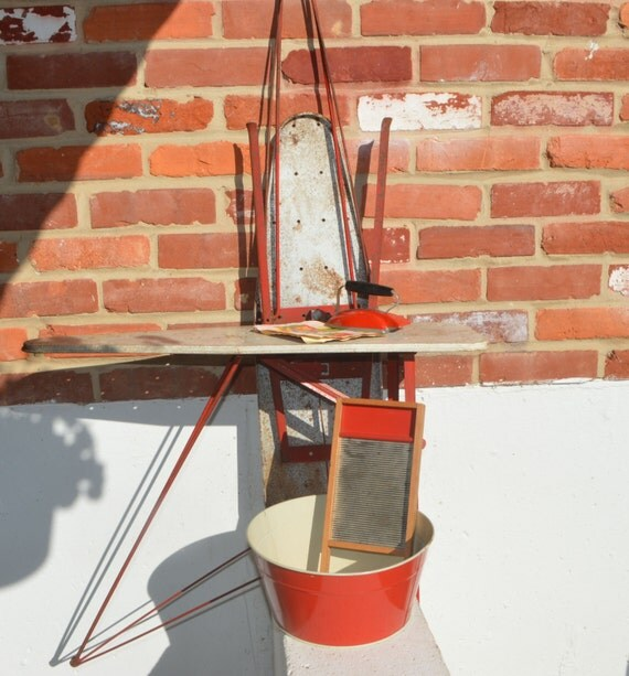 Vintage Red Toy Iron 2 Ironing Boards Wash Tub