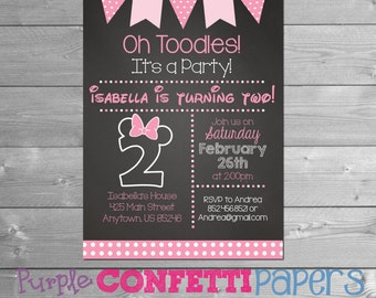 Minnie Mouse birthday invitation, Minnie Birthday Invitation, Minnie Mouse Second Birthday, 2nd, Chalkboard, 2, Minnie Printable Invitation