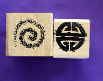 Primitive Rubber Stamps / Set of Two/Small Stamps