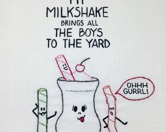 NEW Milkshake Hand-Embroidered & Printed Tea Towel