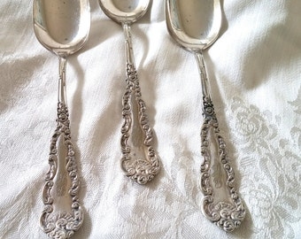 Wm Rogers Silverplate Tablespoons, Monogramed Vintage Silver spoons