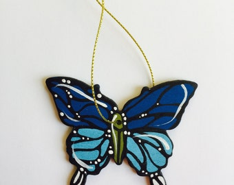 """Butterfly Ornament - Christmas Tree Decor - 3"""" Original Handmade and Signed Cute Butterfly Wood Flat Ornament. Butterfly Gift. Original Art."""