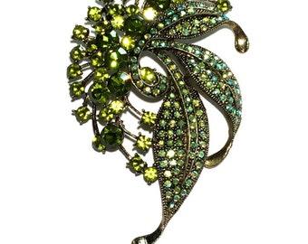 Rhinestone Bridal Brooch, Flower Brooch, Bridal Brooch, Olivine