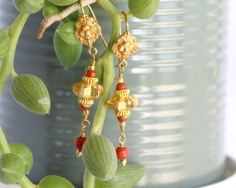Coral Dangle Earrings / Gold Gypsy Earrings / Boho Earrings / Dangle Earrings / Gold Earrings / Earrings For Women / Earring Gypsy / Gift