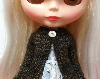 BLYTHE doll hand knit wool cardigan sweater - vintage brown