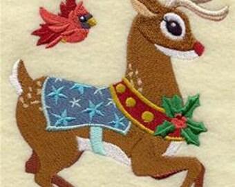 Rudolph and Cardinal Embroidered Towel | Flour Sack Towel | Linen Towel | Dish Towel | Kitchen Towel | Hand Towel | Holiday Towel