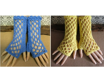 Mid Blue Fingerless Gloves, Womens Lace Knitted Gothic or Burlesque Wool Gloves, Australia, Nchanted Gift
