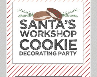 Santa's Workshop, Cookie Decorating Party - INSTANT DOWNLOAD