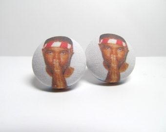 Frank Ocean Fabric Button Earrings